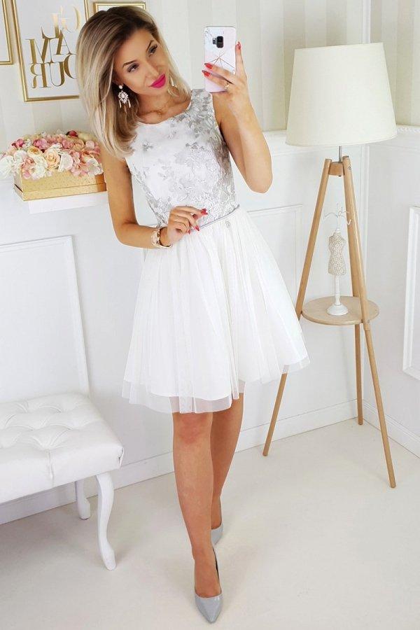 Bicotone sukienka z koronką biało-szara 2179-31_2