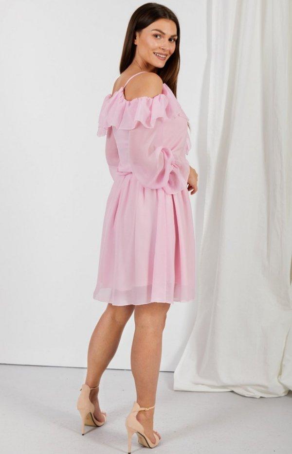 Zwiewna sukienka z falbanami różowa L329 tył