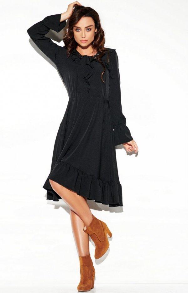 Rozkloszowana sukienka z wiązaniem czarna L313-1