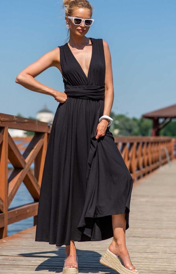 Letnia sukienka maxi czarna F1252