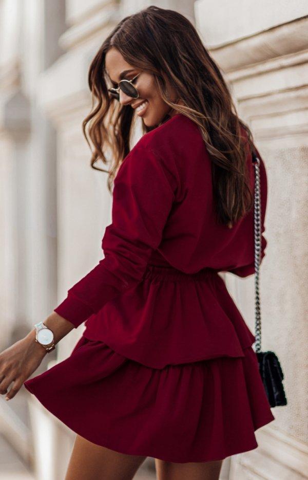 Dresowa spódniczka i bluza Larisa bordowa tył