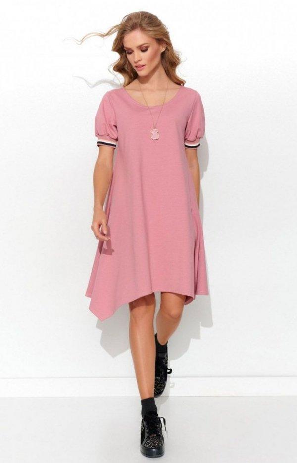 Asymetryczna dzianinowa sukienka pudrowy róż NU299-1
