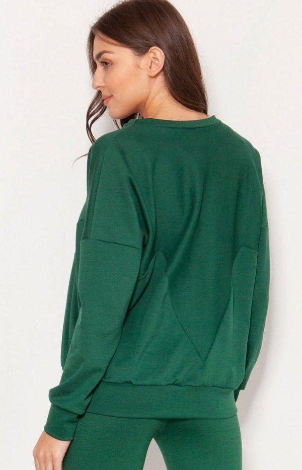 Luźna bluza damska zielona BLU148 tył