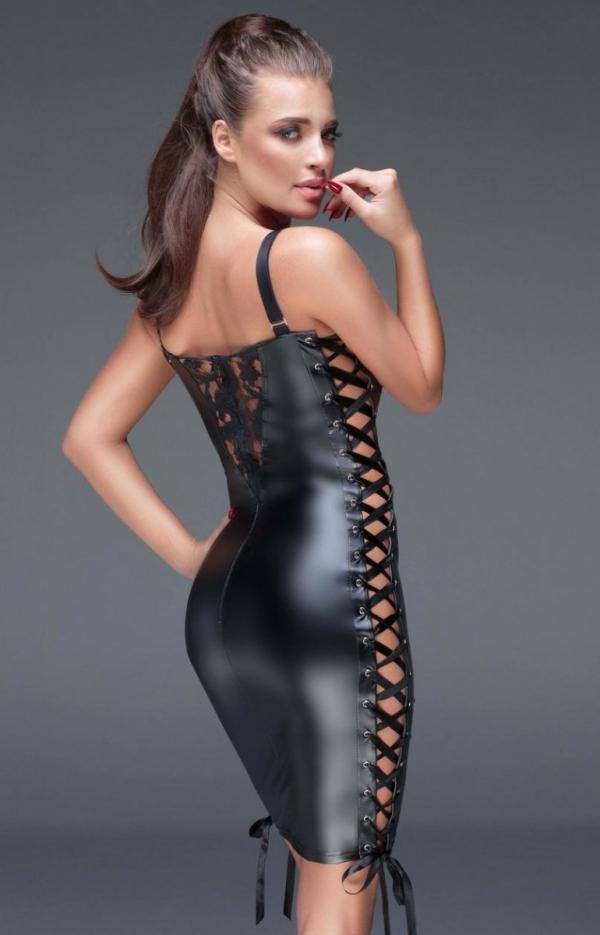 Dopasowana erotyczna sukienka F146 tył
