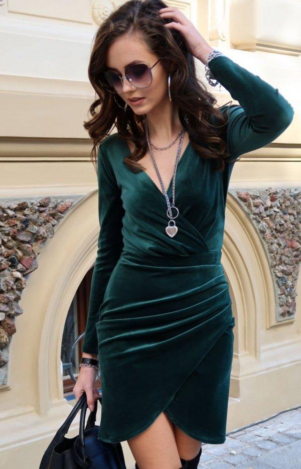 Elegancka kopertowa sukienka zielona 0308