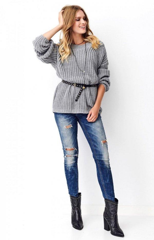 Oversizowy sweter szary S74-1