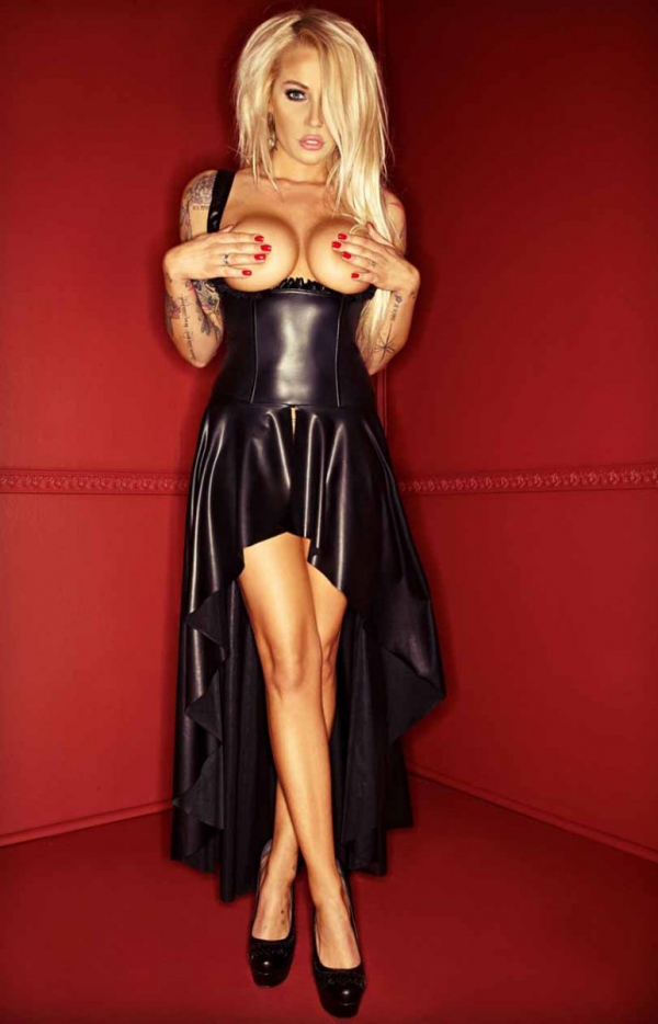 Długa skórzana sukienka typu wetlook F069