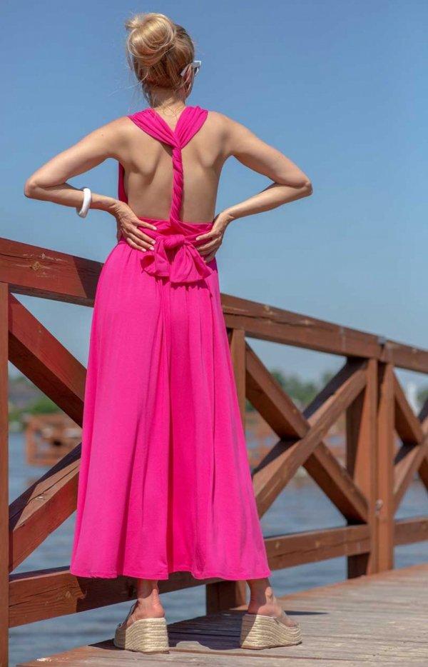Letnia sukienka maxi fuksja F1252 tył