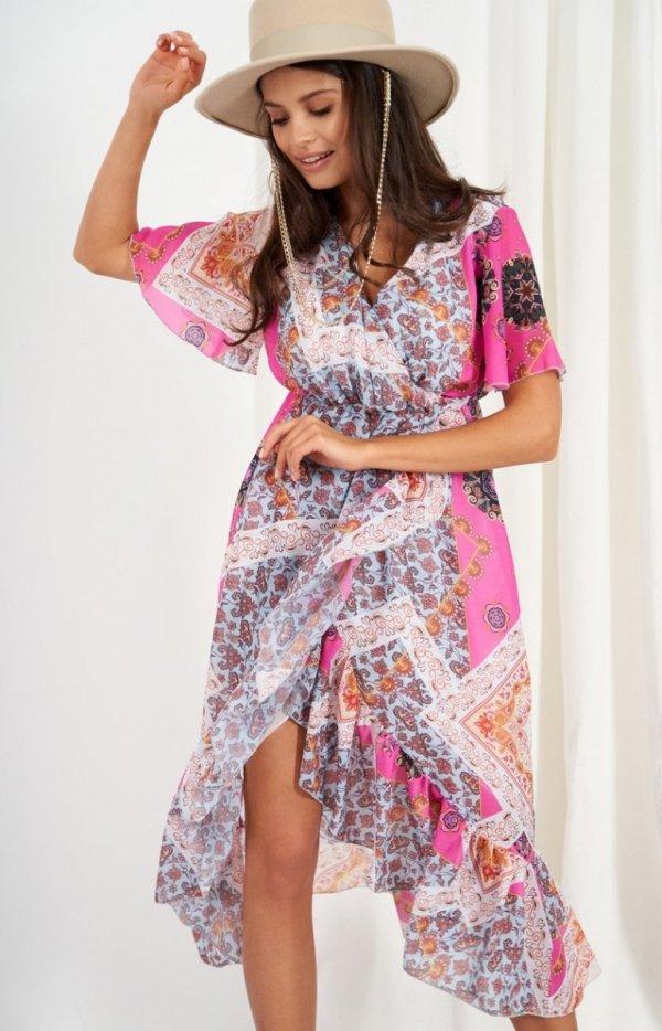 Zwiewna asymetryczna sukienka maxi LG523/D16