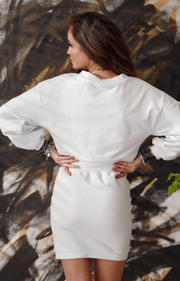 Sportowy komplet bluza i spódnica biała 0004-1