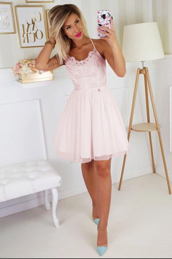 Koronkowa sukienka z tiulowym dołem 2186-12-1