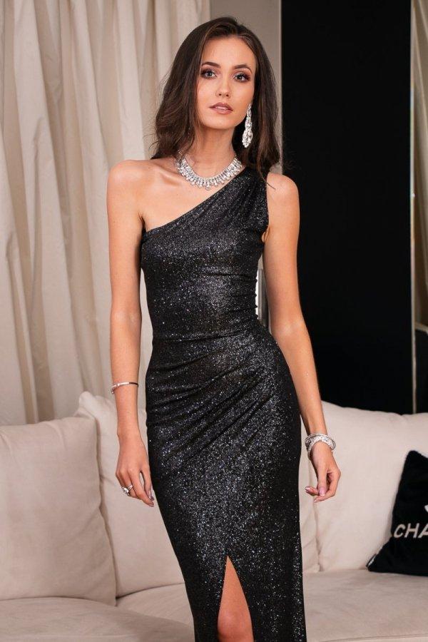 Elegancka czarna sukienka z brokatem 274-1