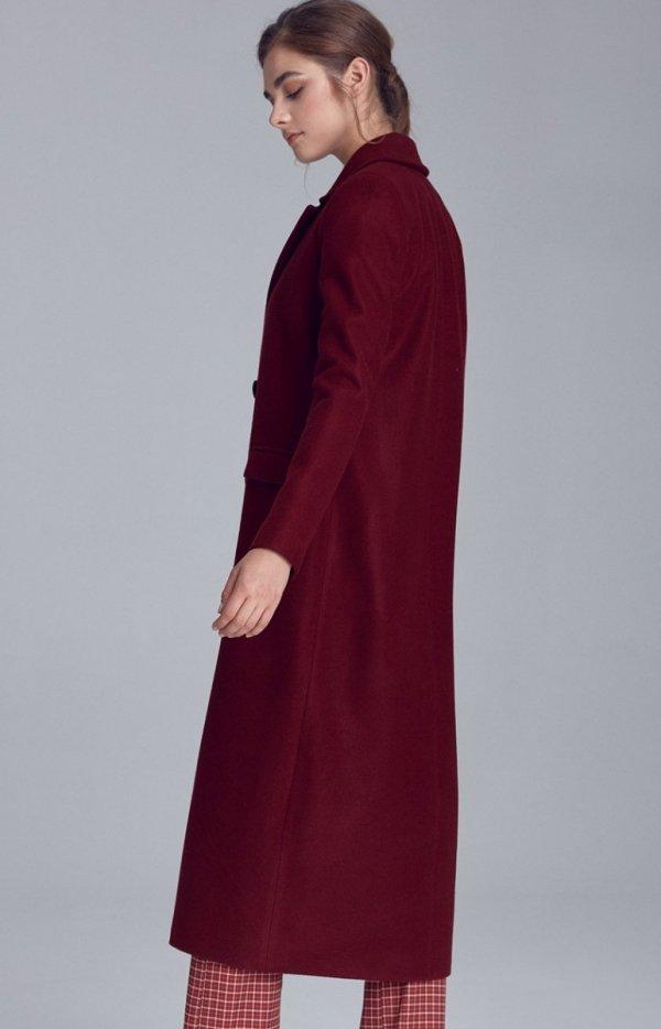 Długi ciepły płaszcz bordowy Nife pl06
