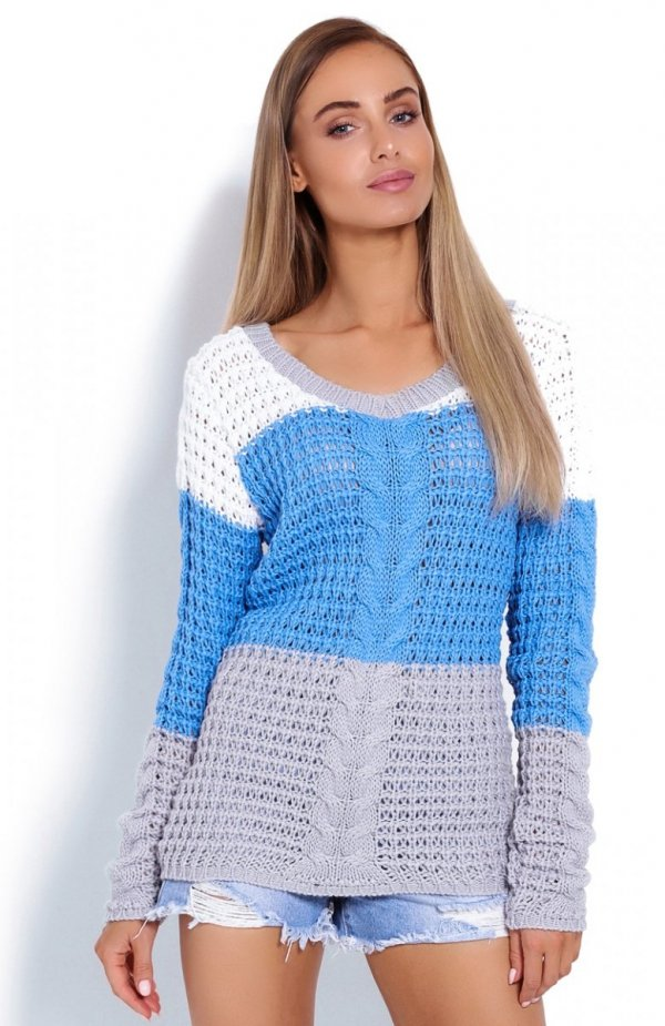PeekaBoo 40008 sweter w paski niebieski