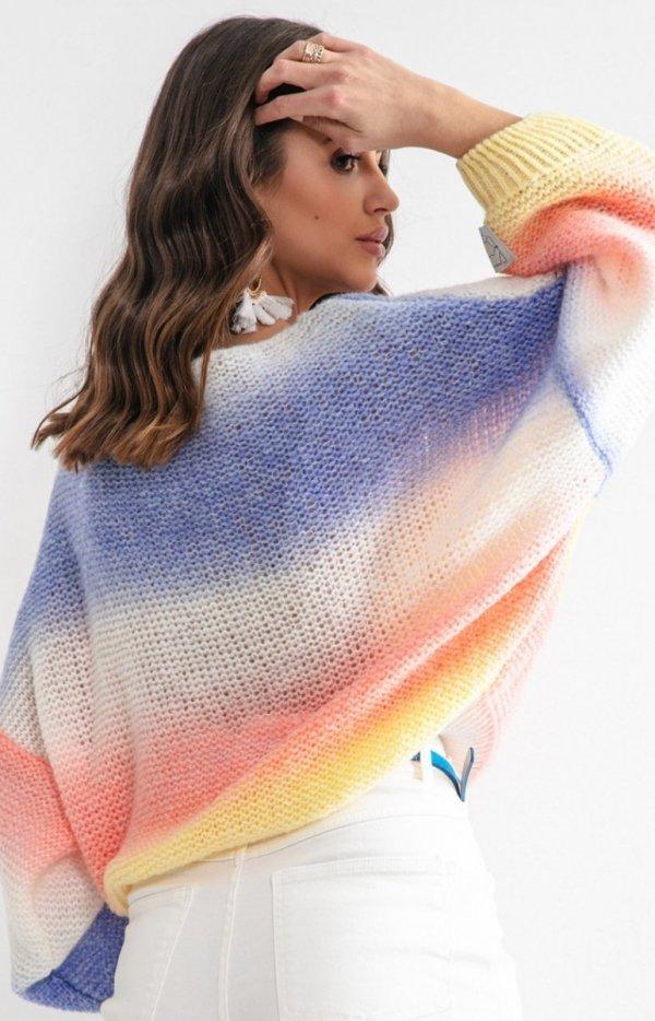 Pastelowy oversizowy sweter bird F1162 tył
