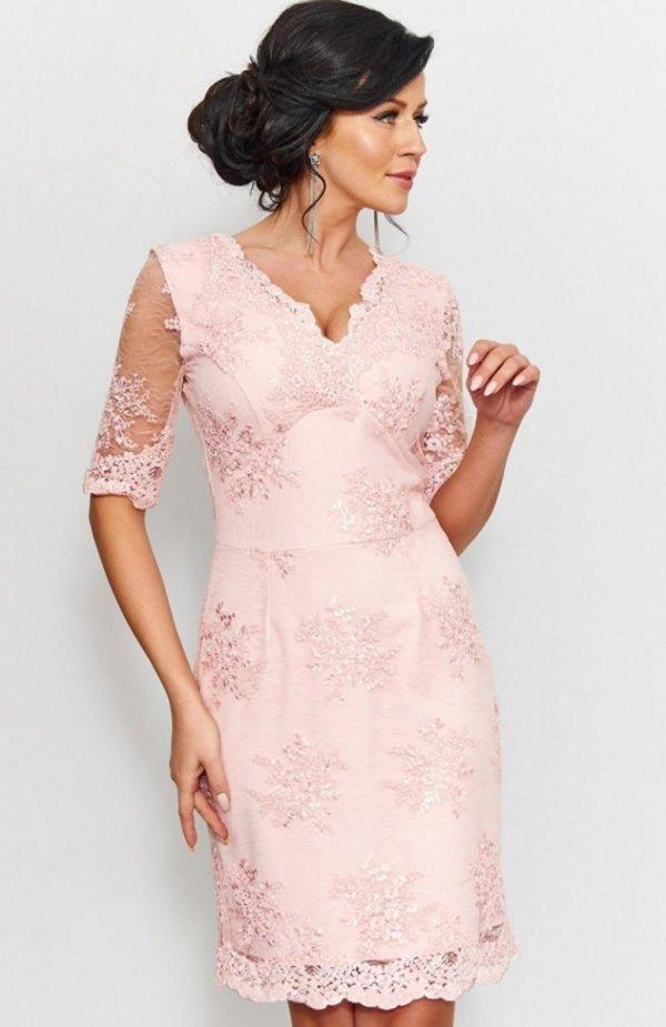 Roco 0153 sukienka koronkowa pudrowy róż