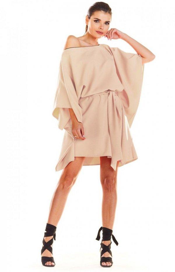 Kimonowa beżowa sukienka M196_2