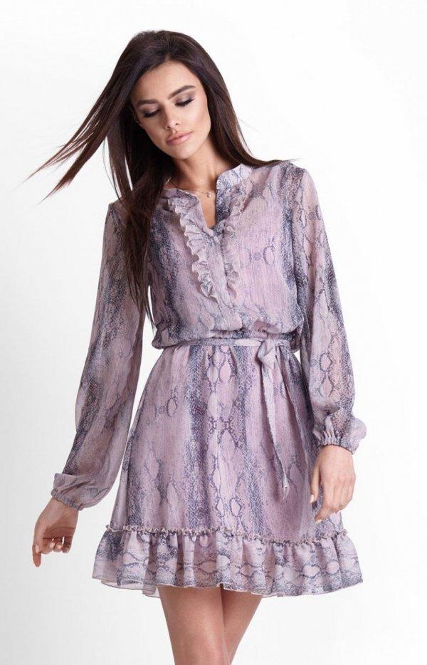 Szyfonowa sukienka na gumie w kwiaty Leila