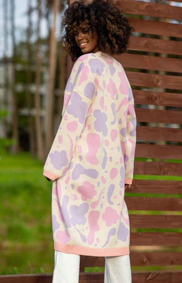 Bawełniany długi kardigan parispink F1239 tył