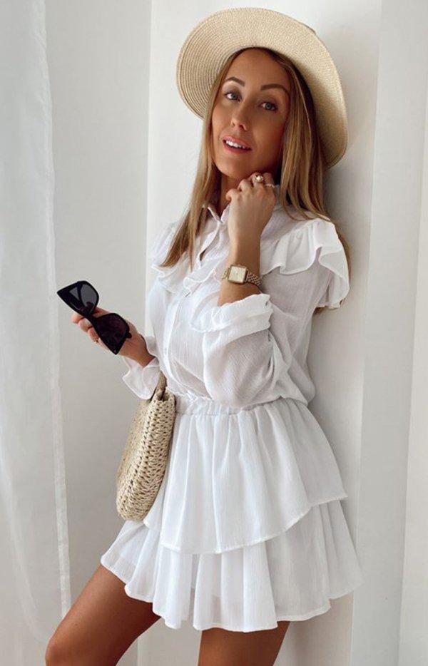 Biały komplet damski koszula i spódniczka-1