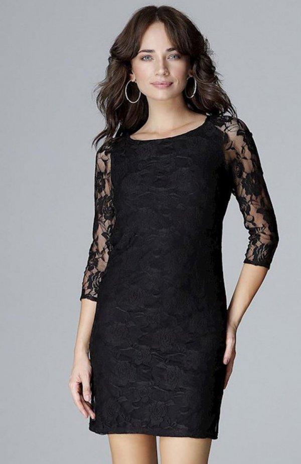 Lenitif L017 sukienka koronkowa czarna
