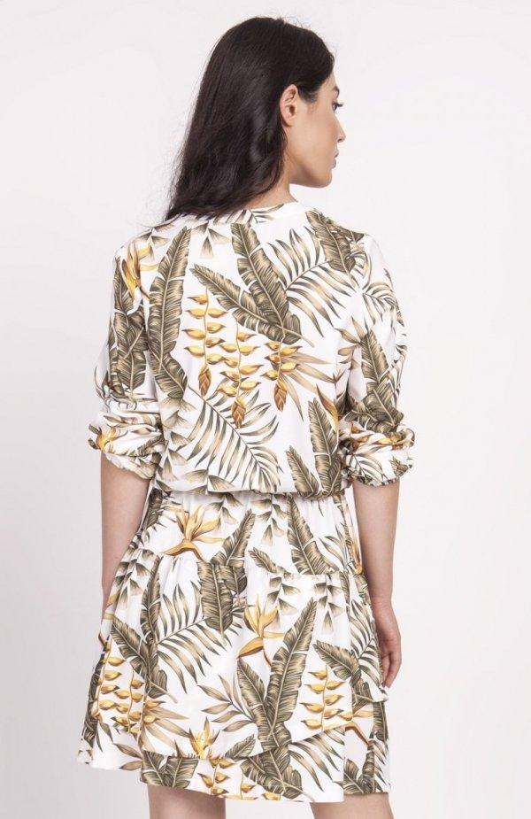 Sukienka z falbanką liście ecru SUK174 tył