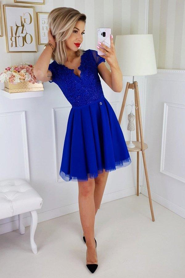 Chabrowa koronkowa sukienka z tiulem 2180-05-1