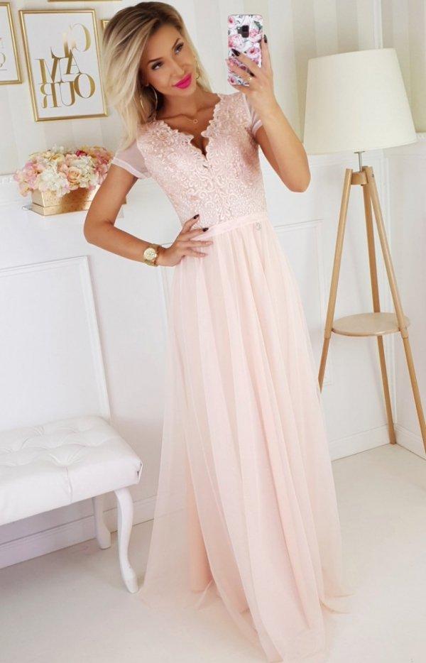 Wieczorowa długa sukienka brzoskwiniowa 2187-17