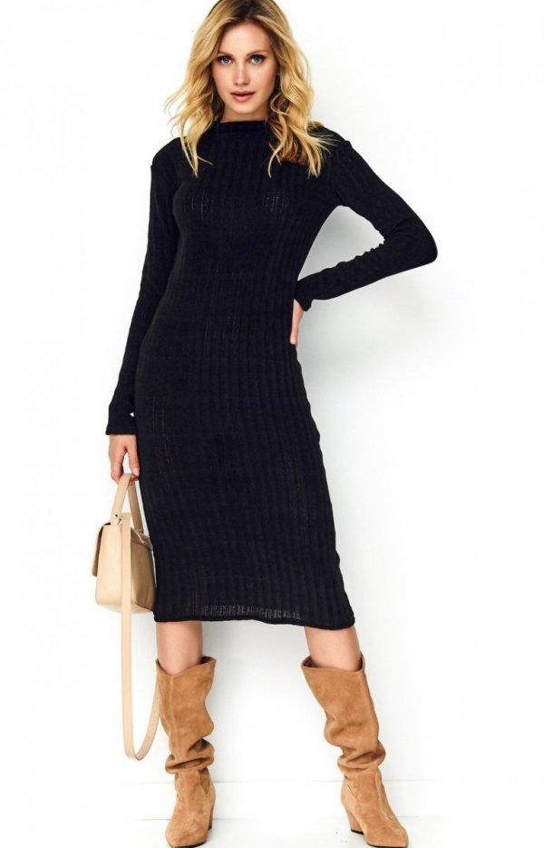 Sweterkowa dopasowana sukienka czarna S100-1