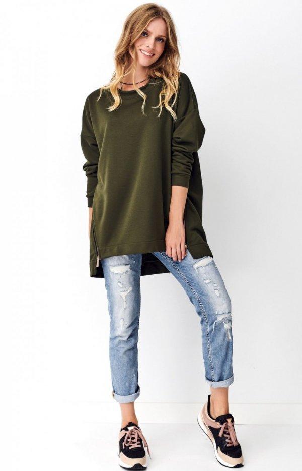 Asymetryczna bluza damska khaki Numinou NU250-1