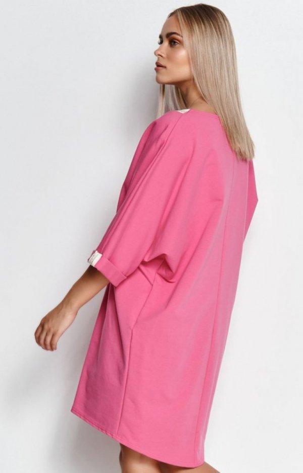 Oversizowa dresowa sukienka M626 tył