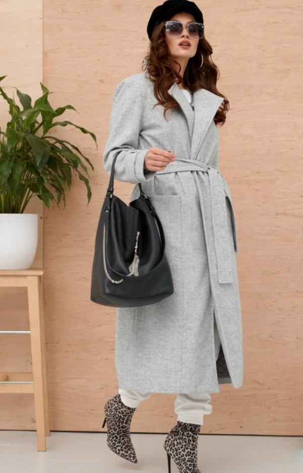 Długi płaszcz z wiązaniem szary 0017-1