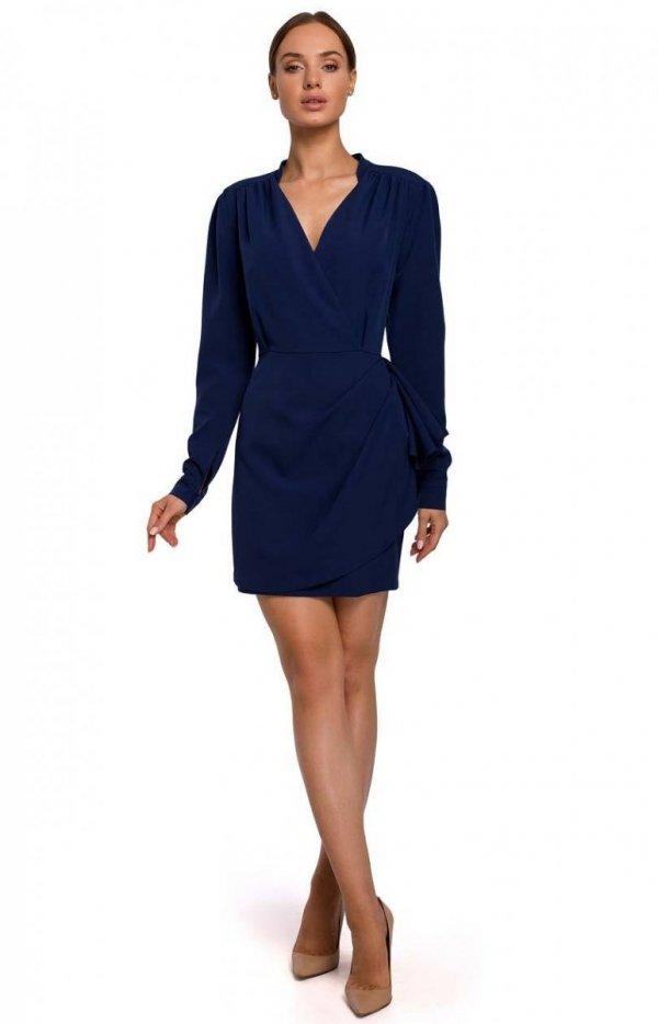 Elegancka mini sukienka z falbaną navy M531-1