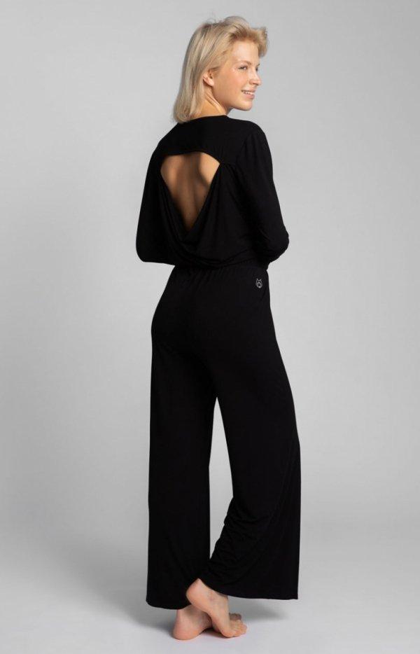 Szerokie czarne spodnie z rocięciami LA026 tył