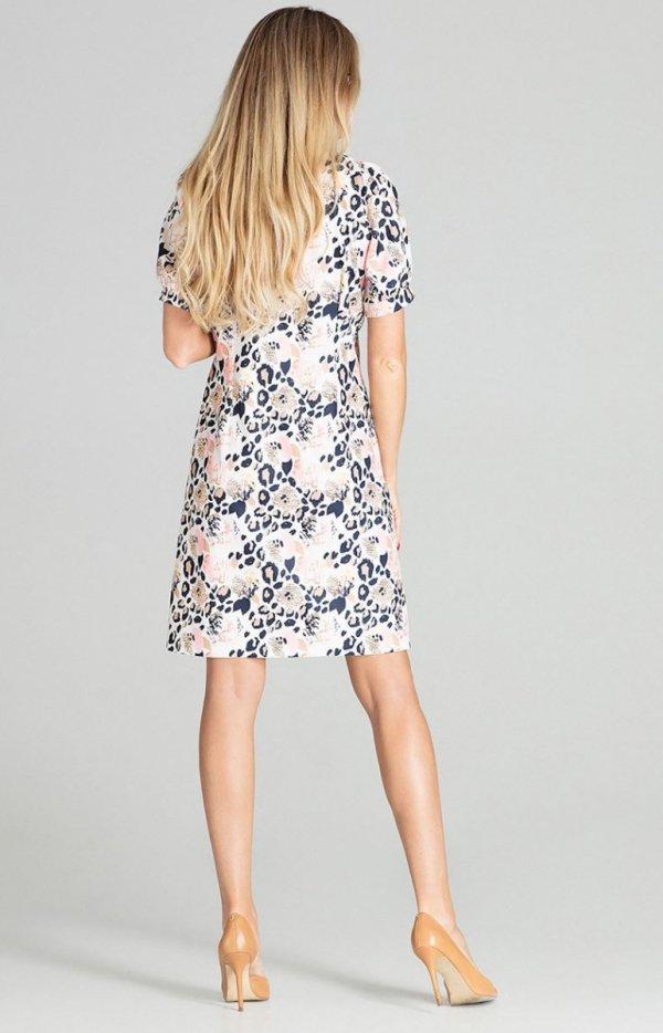 Wzorzysta sukienka M704/112 tył