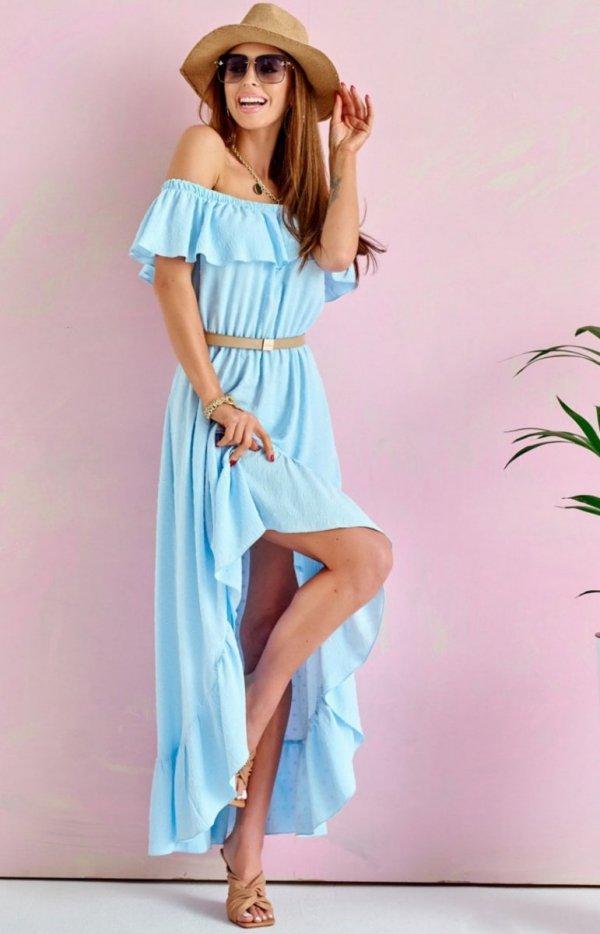 Asymetryczna sukienka hiszpanka błękitna 0334