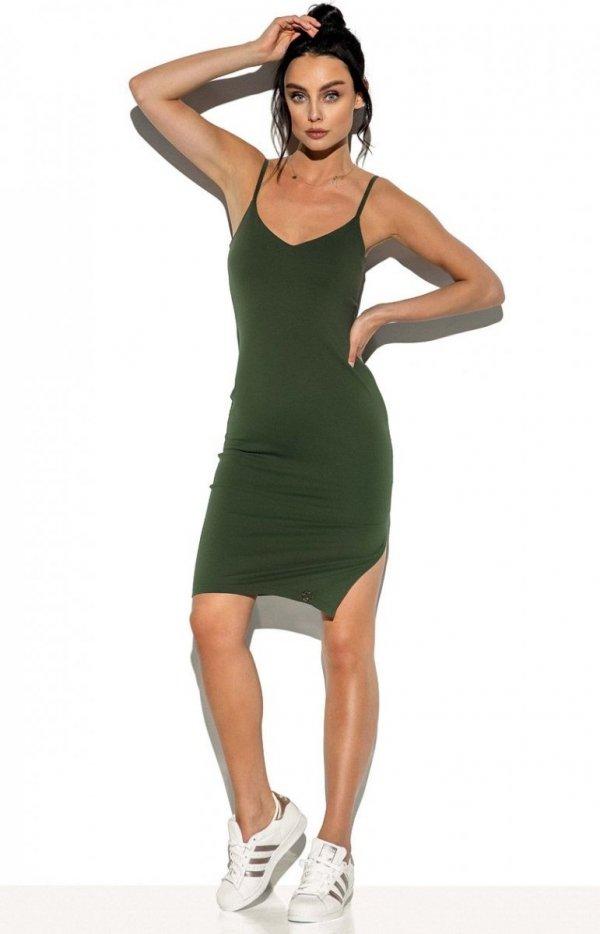 Dopasowana sukienka na ramiączkach khaki LN118-1