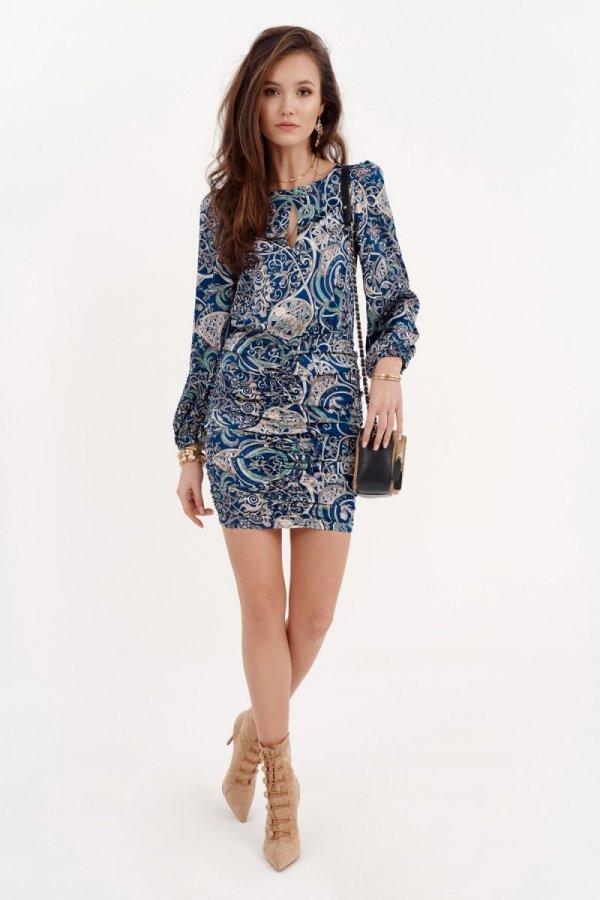 Ołówkowa sukienka z bufiastymi rękawami 0280/S23-2