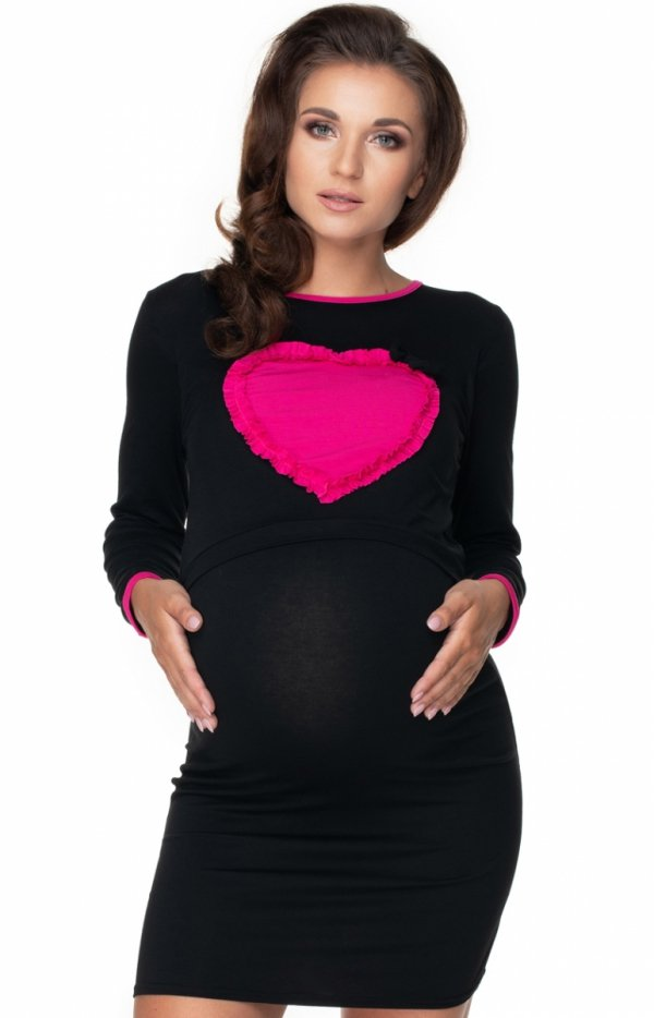 Koszula nocna do karmienia z sercem czarna 0154-1