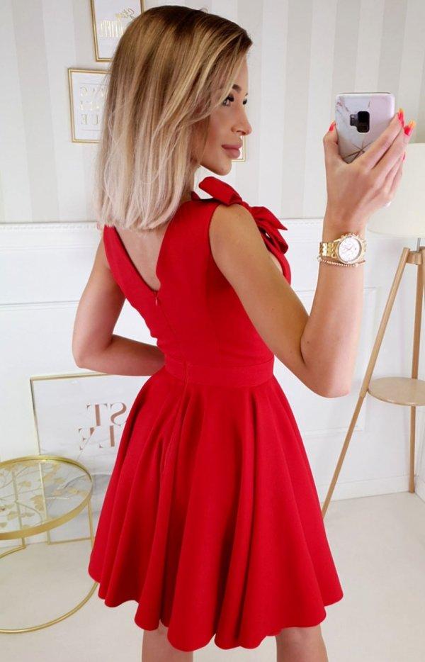 Wizytowa sukienka z kokardkami  czerwona 2209-02 tył