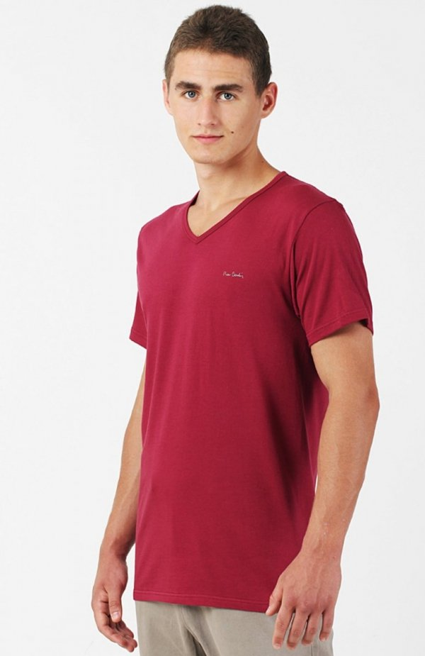 Pierre Cardin V-Neck koszulka bordowa