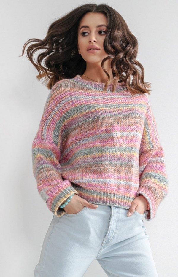 Oversizowy sweter multikolor pinki F1163