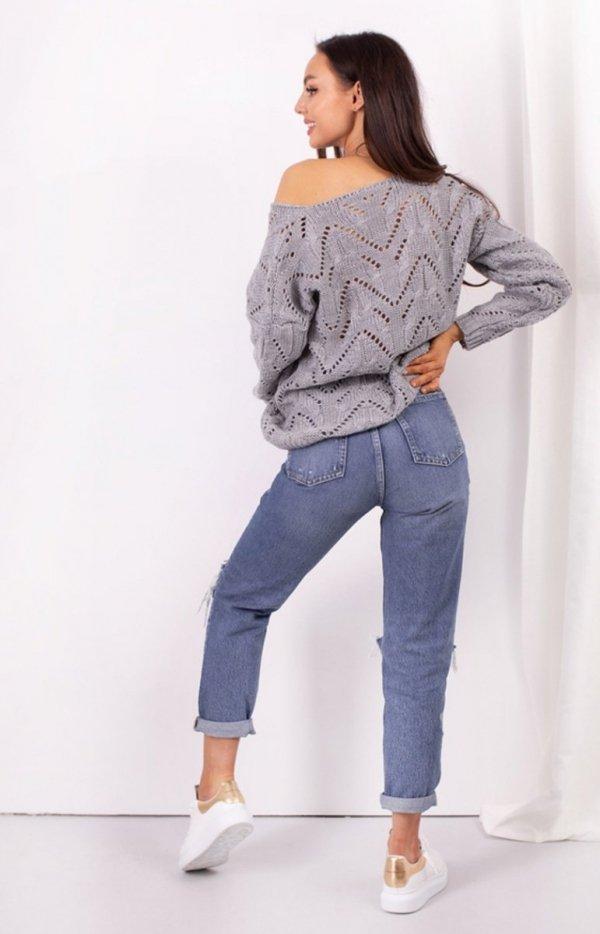 Ażurowy sweterek szary LS319 tył