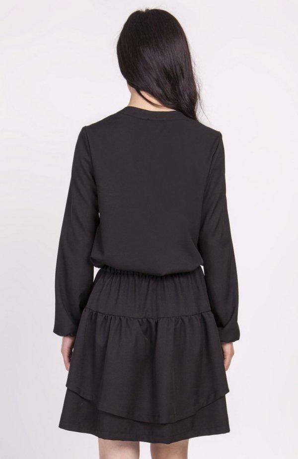 Sukienka z falbanką czarna SUK175 tył