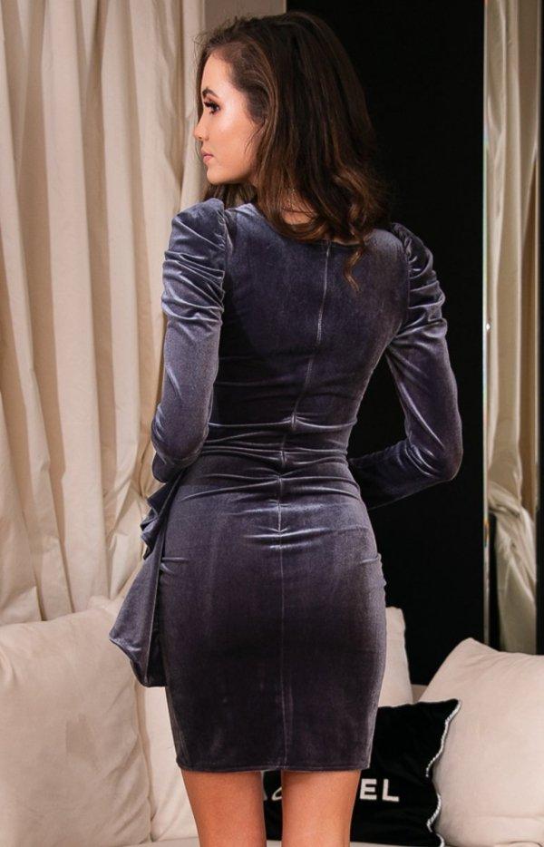 Wieczorowa szara sukienka z bufkami 270 tył