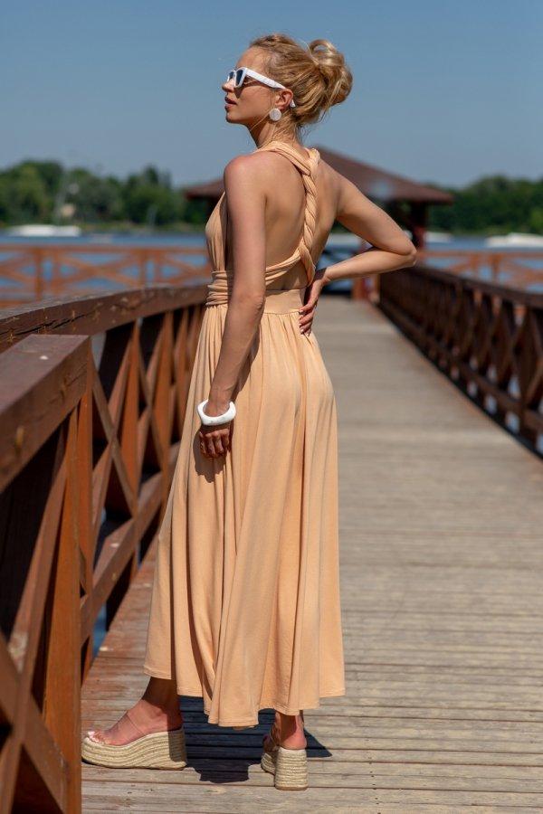 Letnia sukienka maxi piaskowa F1252 tył