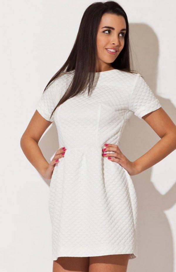 Katrus K147 sukienka ecru pikowana