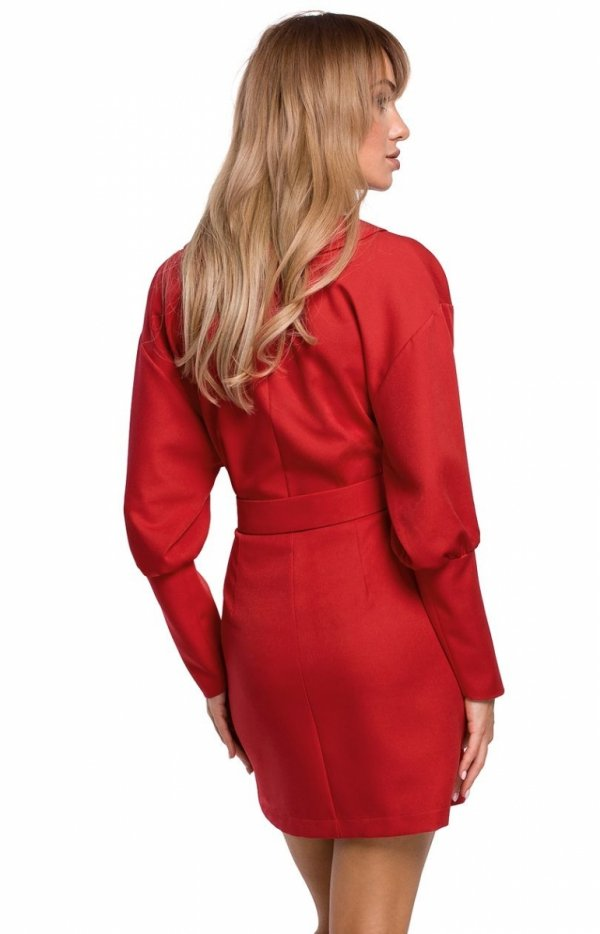Stylowa sukienka z paskiem czerwona M501 tył