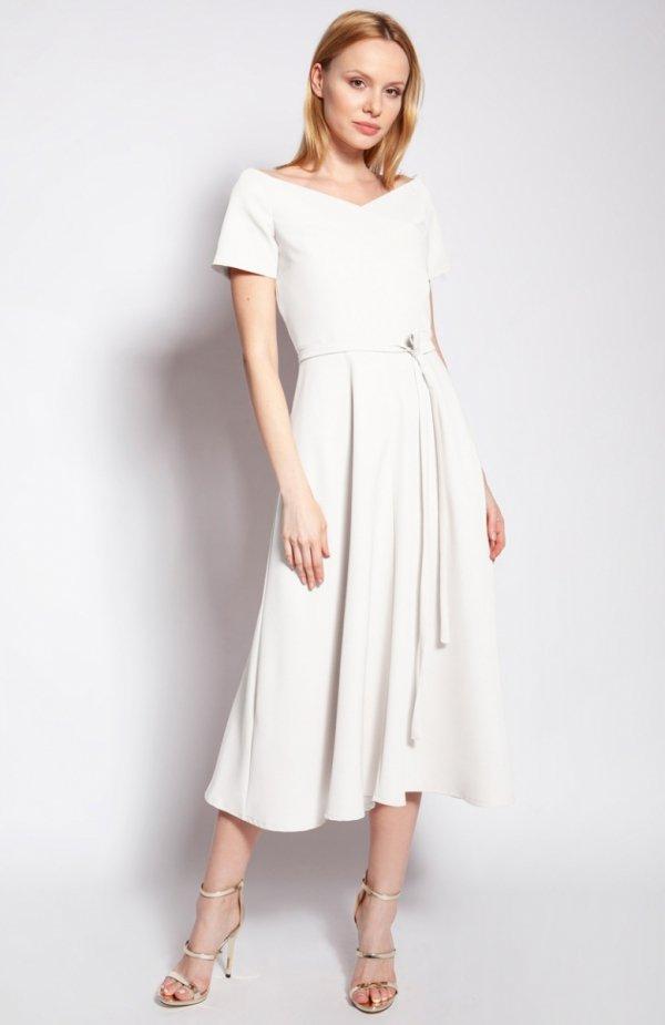 Sukienka trapezowa midi ecru SUK181