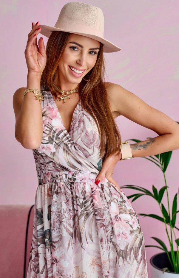 Szyfonowa długa sukienka letnia kolorowa 0209 U65-1